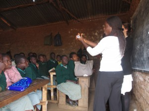 Demonstration of Ruby Cup in Kibera St Johns School